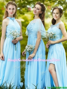 Modest Light Blue Empire Long Graduation Dress with Appliques