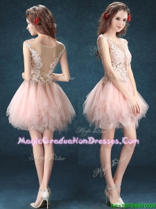 See Through Scoop Baby Pink Graduation Dress with Appliques and Ruffles