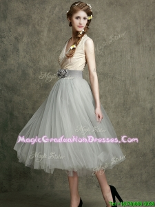 Wonderful Hand Made Flowers and Belted Graduation Dress with Tea Length