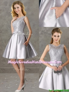 Classical Laced and Bowknot Scoop Graduation Dress in Silver