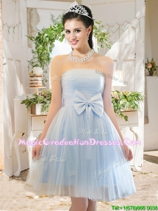 Elegant A Line Strapless Bowknot Short Graduation Dress in Light Blue