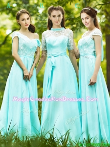 Lovely Chiffon Empire Long Graduation Dress in Apple Green