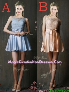 Pretty Bateau Laced and Belted Short Graduation Dress in Taffeta