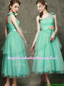 See Through One Shoulder Graduation Dress with Bowknot and Hand Made Flowers