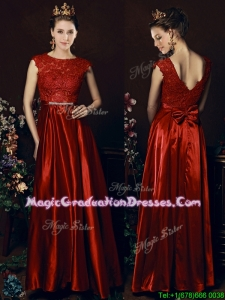 Cheap Scoop Laced and Bowknot Graduation Dress in Wine Red