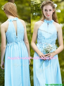 Discount Halter Top Light Blue Graduation Dress with Appliques