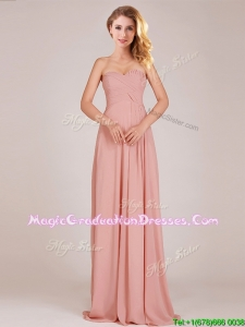 Fashionable Empire Chiffon Ruched Long Graduation Dress in Peach