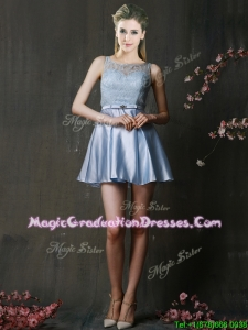 Fashionable Light Blue Short Graduation Dress with Lace and Belt