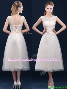 Fashionable Tea Length Scoop Graduation Dress with Lace and Appliques