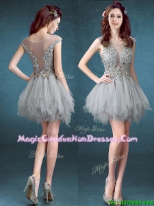 Gorgeous Scoop Appliques and Ruffles Graduation Dress in Grey