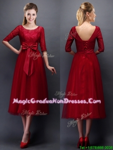 Gorgeous Scoop Half Sleeves Bowknot Graduation Dress in Wine Red