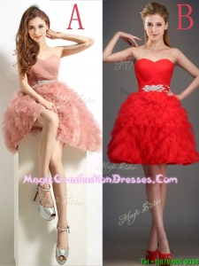 Lovely Beaded and Ruffled Puffy Skirt Graduation Dress in Tulle