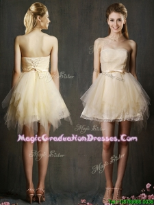 Lovely Sweetheart Short Champagne Graduation Dress with Belt and Ruffles