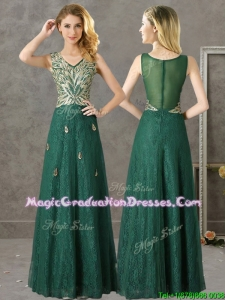 Luxurious V Neck Dark Green Graduation Dress with Appliques and Beading