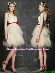 Most Popular V Neck Short Graduation Dress with Belt and Ruffled Layers