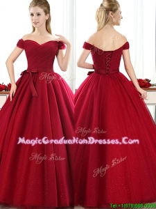 New Arrivals Off the Shoulder Wine Red School Party Dress with Bowknot