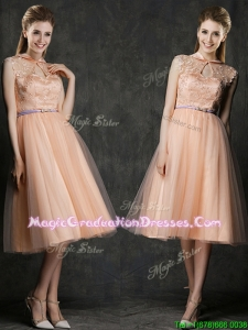 Popular High Neck Peach School Party Dress with Sashes and Lace