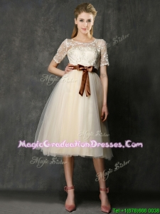 See Through Scoop Short Sleeves Graduation Dress with Bowknot and Lace