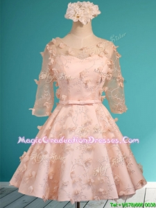 Wonderful Applique and Belted Scoop Short Graduation Dress in Peach
