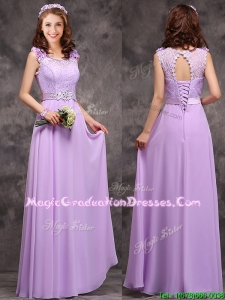 Beautiful Empire Scoop Laced Decorated Bodice School Party Dress in Lavender
