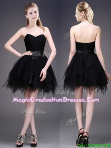 Best Selling Black Short School Party Dress with Ruffles and Belt