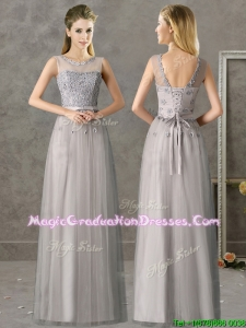 Cheap See Through Scoop Grey Long School Party Dress with Appliques