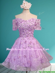 Classical Off the Shoulder Lilac School Party Dress with Appliques and Beading