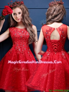 Classical Scoop Red School Party Dress with Appliques and Beading