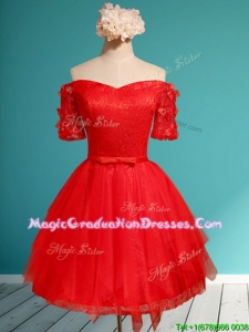 Comfortable Off the Shoulder Short Sleeves Red School Party Dress with Appliques and Belt