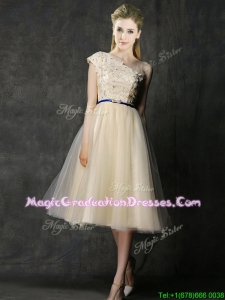 Elegant One Shoulder Sashes and Appliques School Party Dress in Champagne