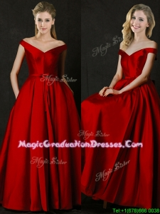 Latest Bowknot Wine Red Long School Party Dress with Off the Shoulder
