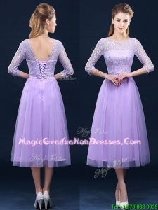 Latest Half Sleeves Tea Length Laced School Party Dress in Lavender