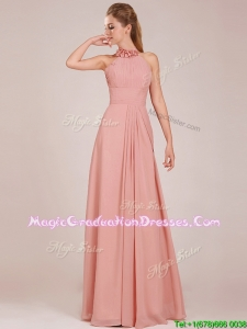 Low Price Halter Top Peach Long School Party Dress in Chiffon