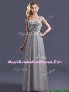 Most Popular Scoop Grey Long School Party Dress with Appliques