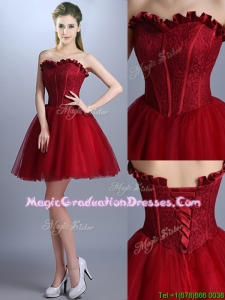New Arrivals Laced Mini Length School Party Dress in Wine Red