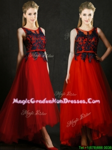 Perfect High Low Belted and Black Applique School Party Dress in Red