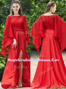 Pretty Bateau Long Sleeves Red School Party Dress with Beading and High Slit