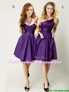 Top Selling Mini Length Ruching School Party Dress in Purple