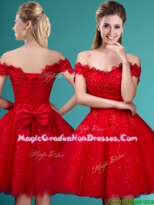 Wonderful Off the Shoulder Cap Sleeves School Party Dress with Beading and Bowknot