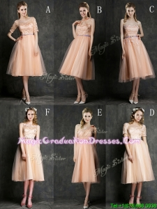 Best Selling Sashed Peach Graduation Dress in Knee Length