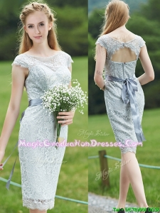 Wonderful Scoop Cap Sleeves Sashes Graduation Dress in Grey