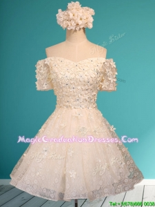 Beautiful White Off the Shoulder Short Sleeves Summer Graduation Dress with Appliques and Beading