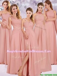 Best Selling Chiffon Peach Long Summer Graduation Dress with Ruching