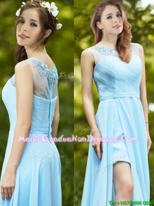 Elegant See Through Scoop Appliques Summer Graduation Dress in Light Blue