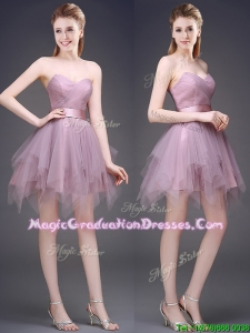 Hot Sale Lavender Short Summer Graduation Dress with Ruffles and Belt
