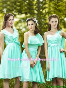 Lovely Belted and Ruched Short Summer Graduation Dress in Apple Green