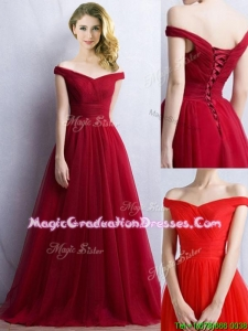 Elegant Off the Shoulder Cap Sleeves Vintage Graduation Dress in Wine Red