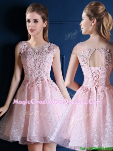 Exquisite Baby Pink Scoop Vintage Graduation Dress with Appliques and Beading