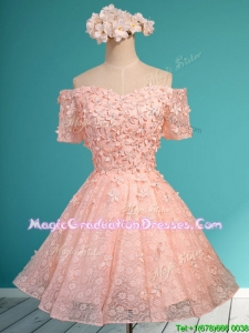 Lovely Off the Shoulder Short Sleeves Vintage Graduation Dress with Appliques and Beading