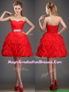 Perfect Really Puffy Red Summer Graduation Dress with Beading and Ruffles